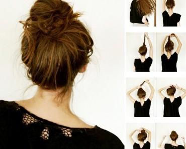 Как сделать пучок из волос средней длины