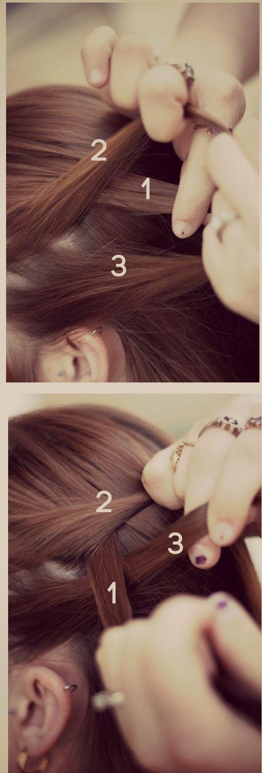 Косое плетение волос