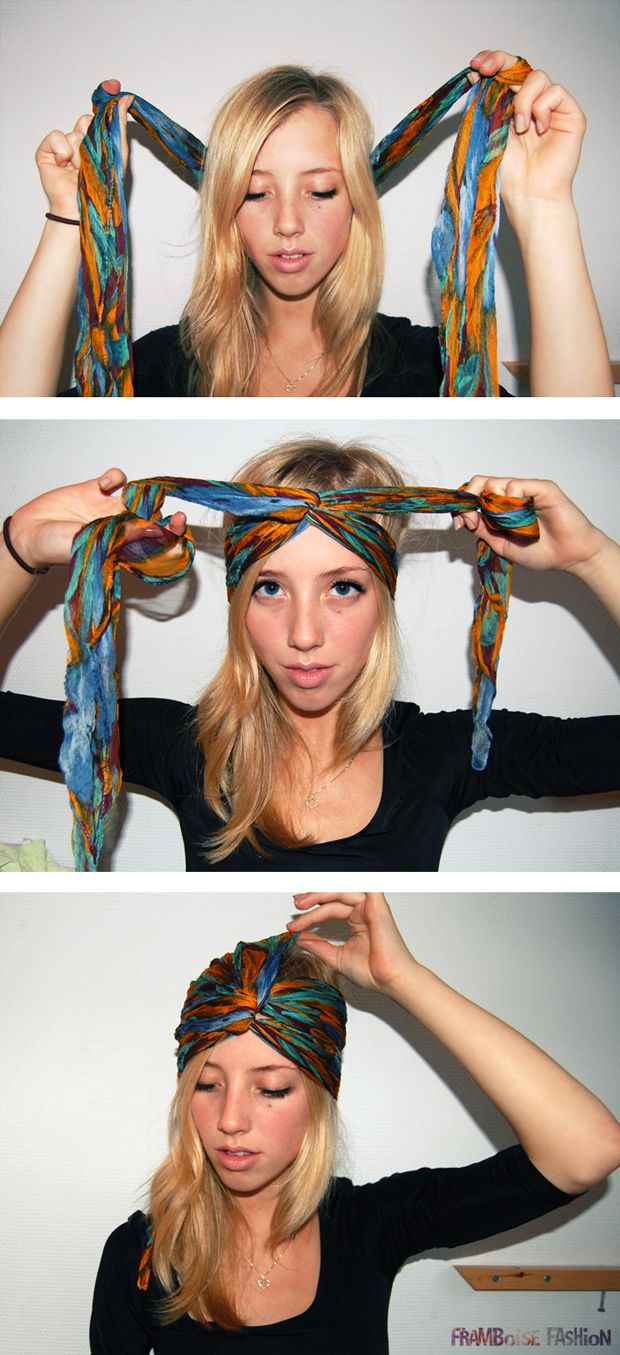 Повязка из платка на волосы