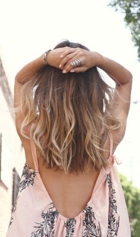 Омбре на среднюю длину волос