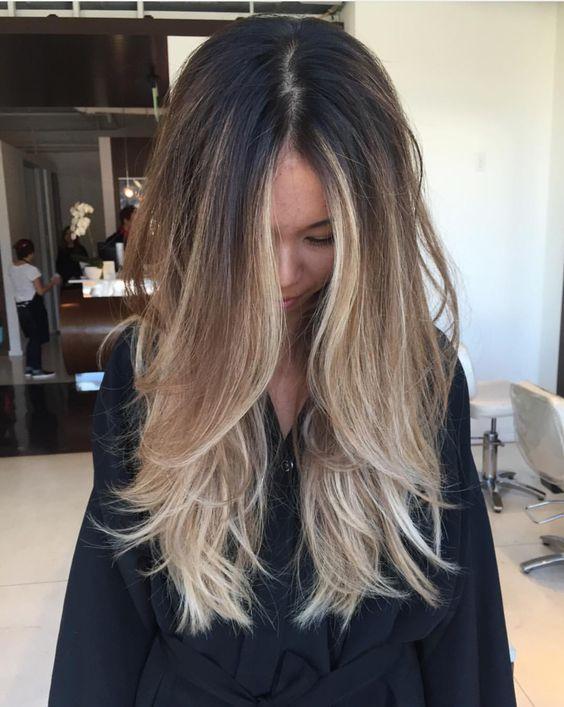 Омбре на прямые волосы