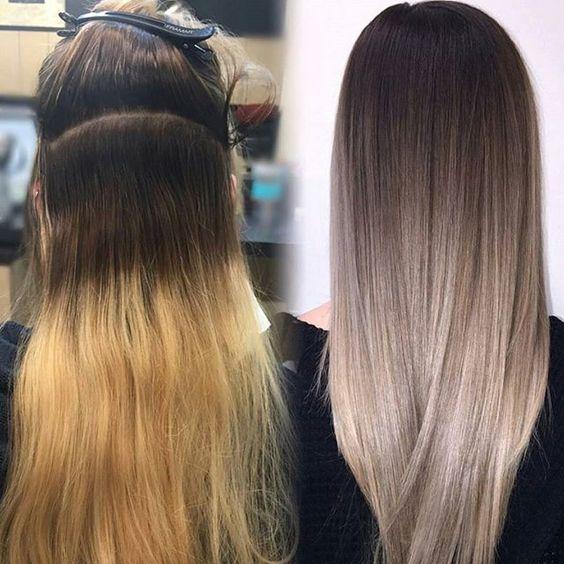 Балаяж до и после