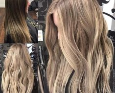 Балаяж на темные волосы средней длины