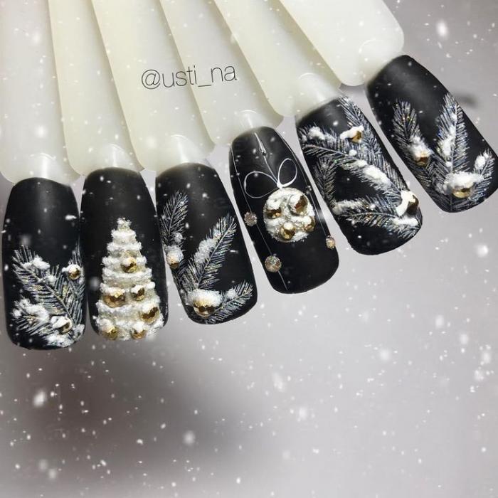 Ёлка на ногтях (30)