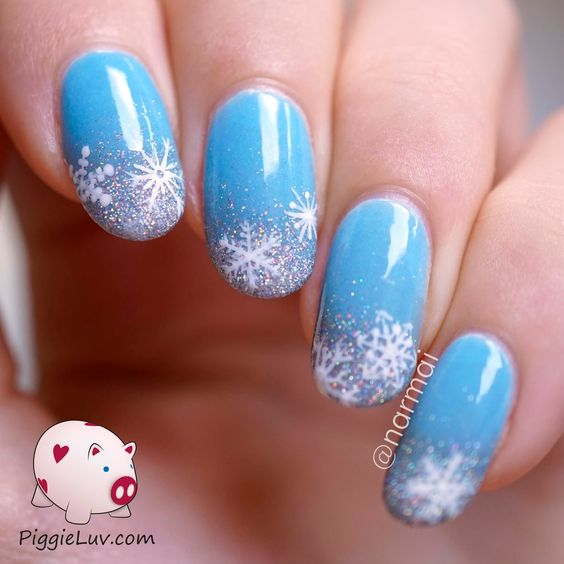 Ногти со снежинками (9)
