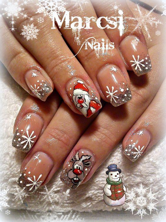 Дед Мороз на ногтях (21)