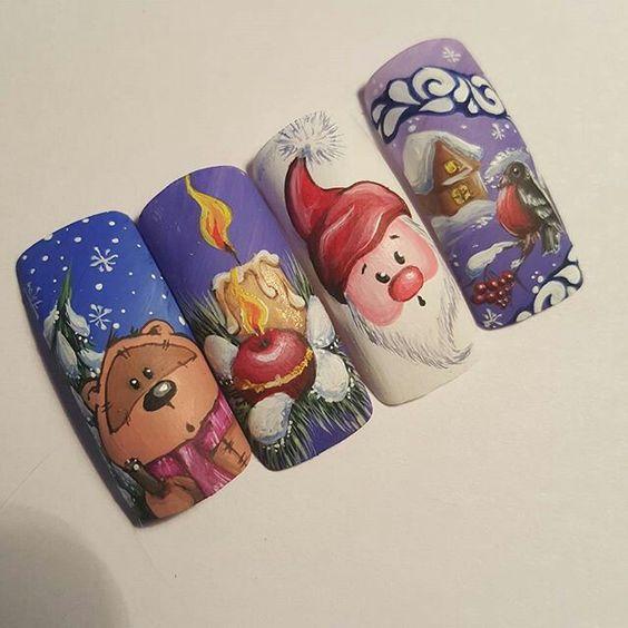 Дед Мороз на ногтях (11)