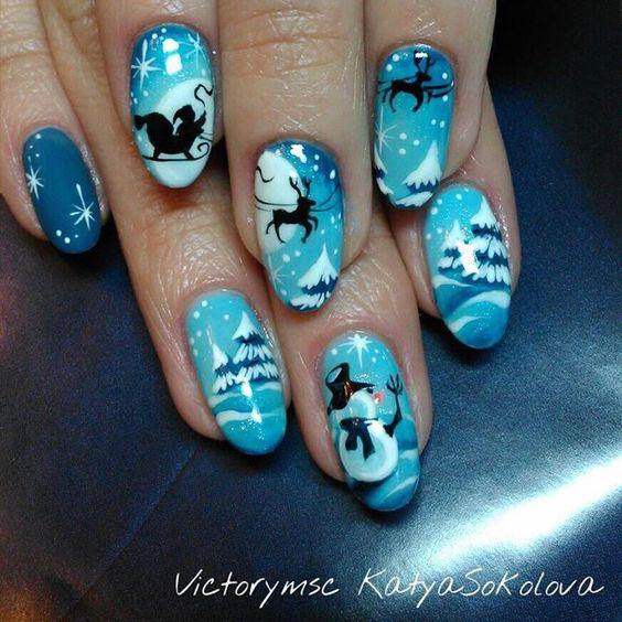 Олень на ногтях (23)