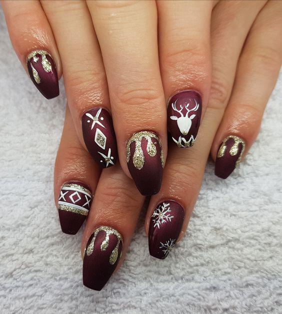 Ёлка на ногтях (25)
