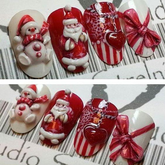 Дед Мороз на ногтях (14)