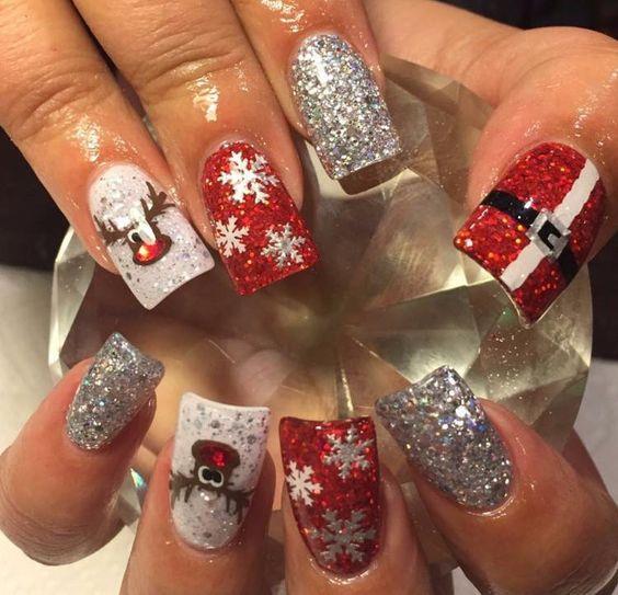 Дед Мороз на ногтях (23)