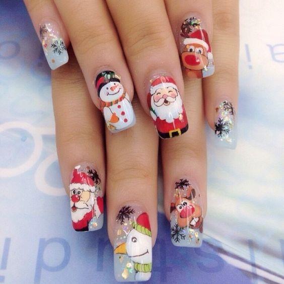 Дед Мороз на ногтях (28)