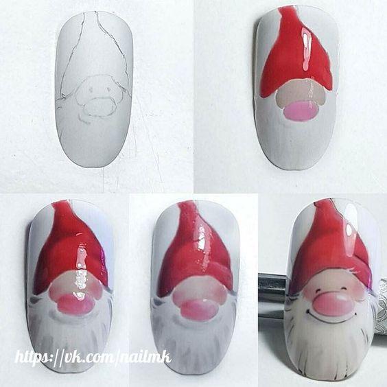 Дед Мороз на ногтях (12)