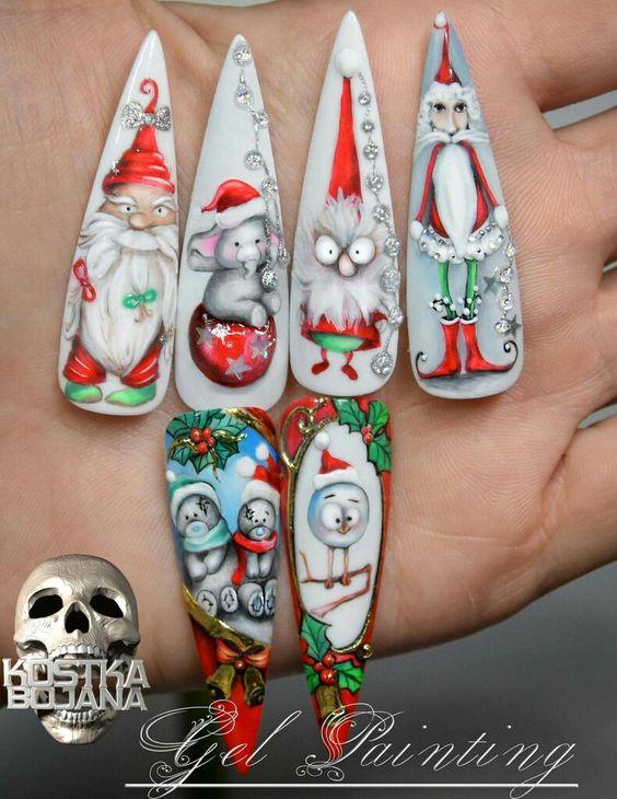 Дед Мороз на ногтях (17)
