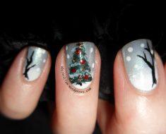 Ёлка на ногтях (10)