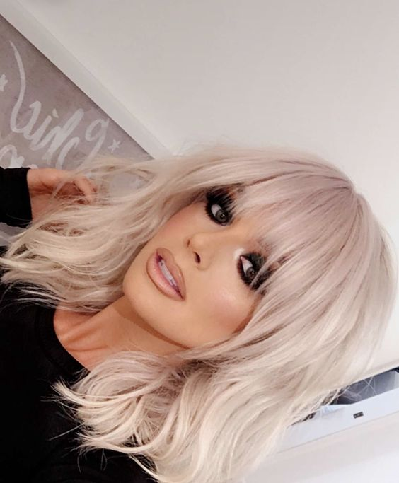 Чёлка на средние волосы 2019 (42)