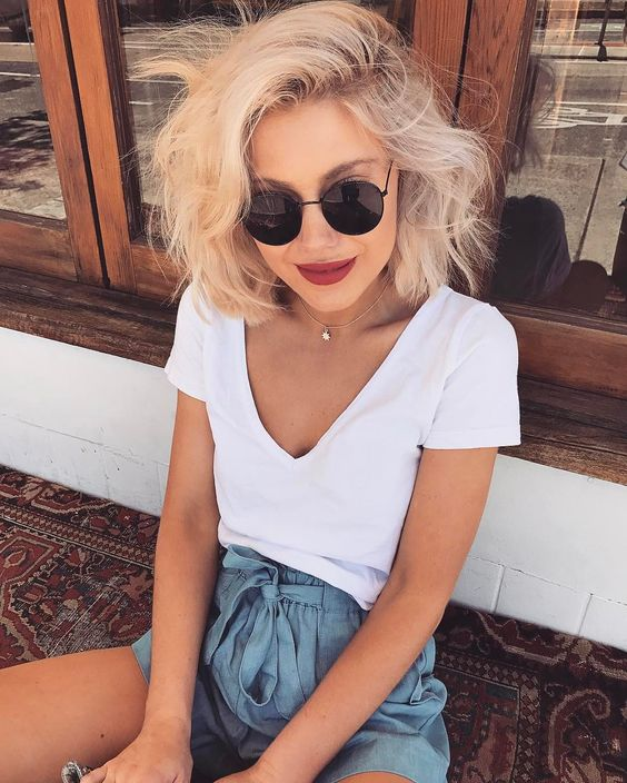 Короткие стрижки Блонд 2019 (15)
